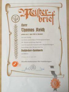 Meisterbrief Thomas Reich